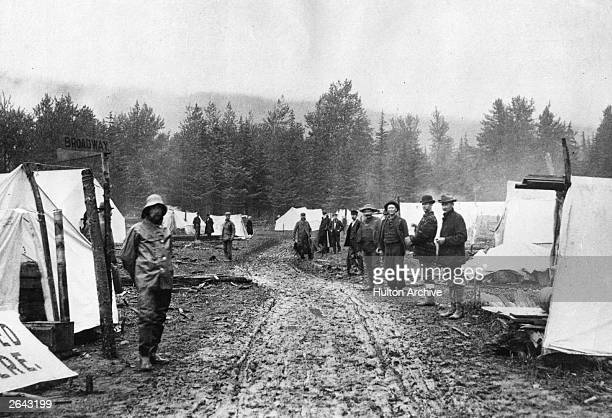 A row of tents marks the beginnings of Skagway a boom town in the 'panhandle' part of Alaska which sprang up following the gold rush in the Klondike