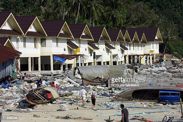 A row of terrace housing workers on the Phi Phi island in southern Thailand holiday resort were destroyed by a tidal waves 27 December 2004 An...