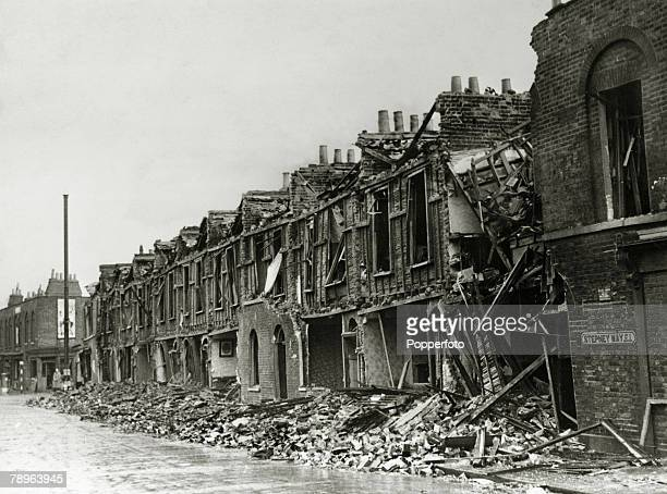 circa 1940 The Blitz A row of houses in Stepney London completely wrecked by bombs from a German night bombing raid