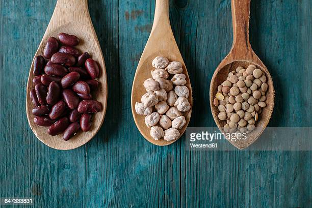 Row of three wooden spoons with dried brown lentils, red beans and chickpeas