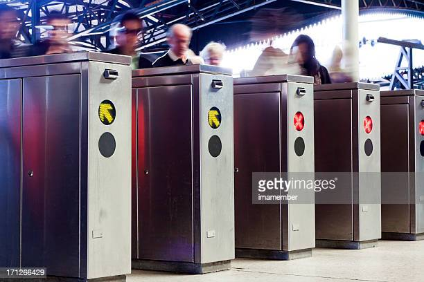 Row of ticket machines in railway station