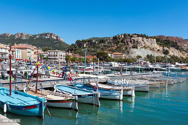 row of traditional boats - cassis stock pictures, royalty-free photos & images