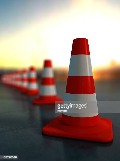 A row of traffic cones outside