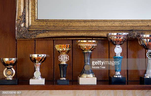Row of trophies displayed on mantlepiece, close-up