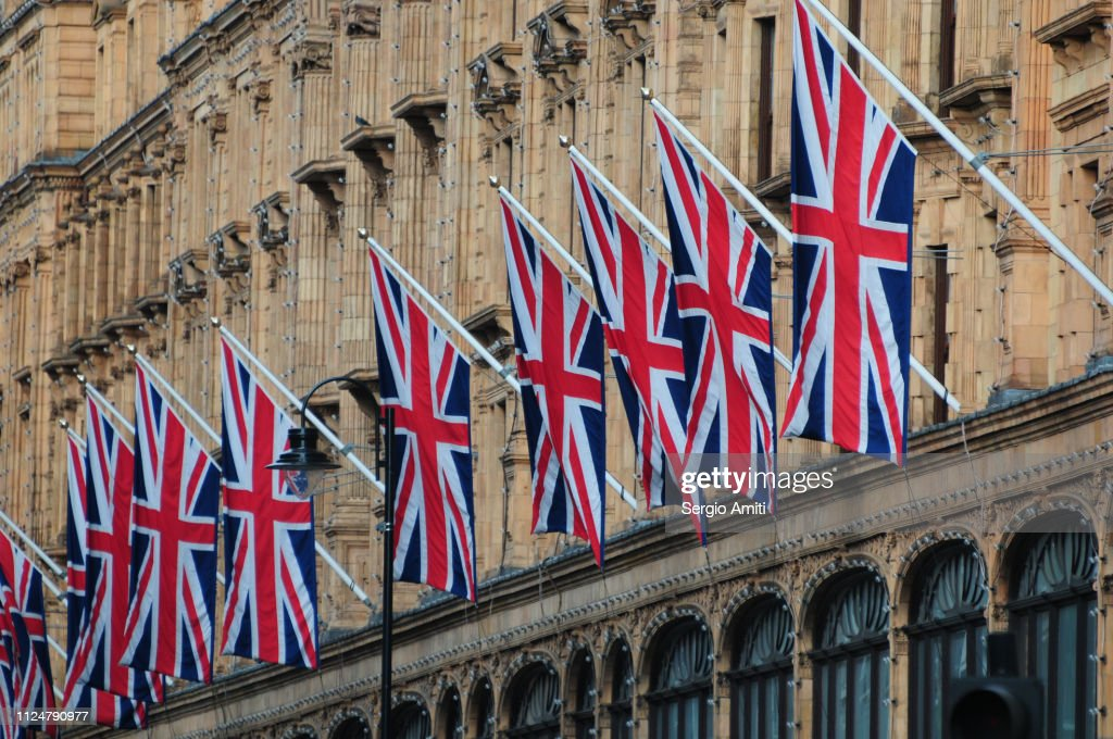 Row of Union Jack flags : Stock Photo