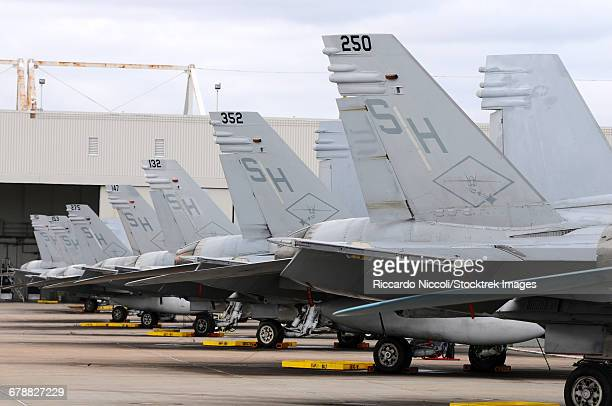 Row of U.S. Marine Corps F/A-18 Hornet tail fins at MCAS Miramar.