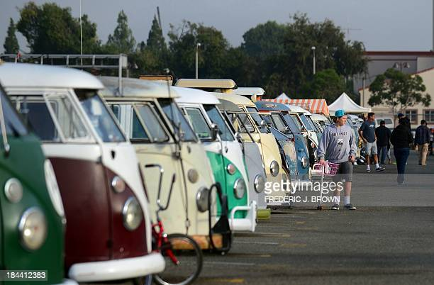 A row of Volkswagen's iconic buses displayed at 'Das OCTO Fest 2013' a swap and display gathering for enthusiasts and owners of 1967 and earlier...