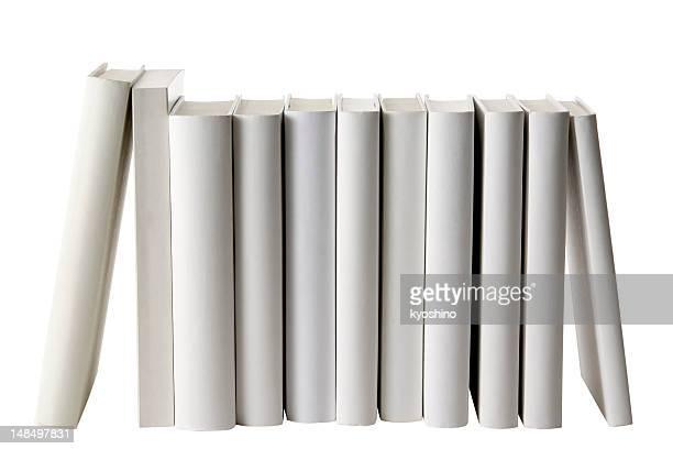 列の白い空白の書籍棘に白背景