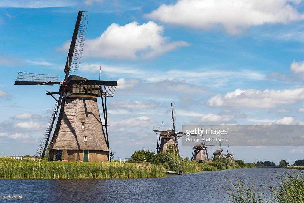 Row of windmills in Kinderdijk : ストックフォト