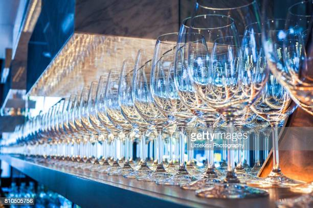 Row of Wineglasses in the Restaurant