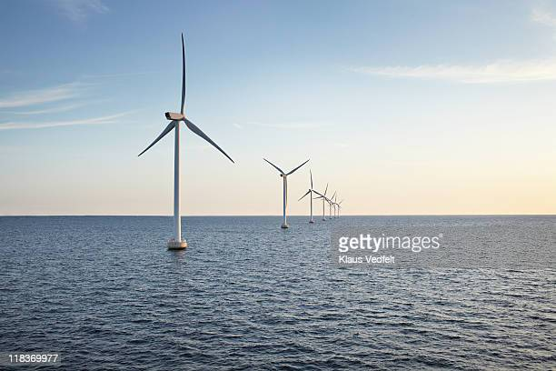 row of winturbines in the sea shot in the sunset - windenergie stockfoto's en -beelden