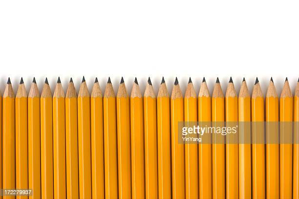 Row of Yellow Pencils Repetition for Education on White Background