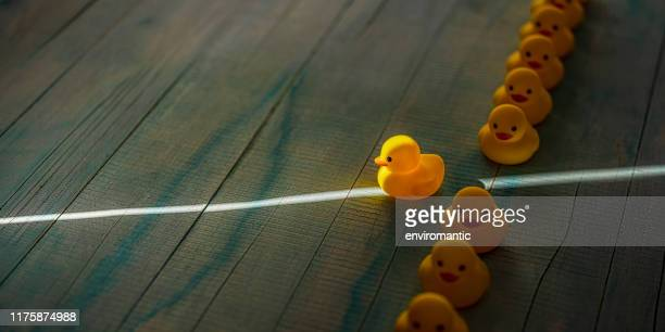 row of yellow rubber ducks in a formal line with one duck breaking free of the line heading towards a shaft of light shining through the darkness, scene set on an old blue and white weathered wooden panel background, conceptually representing water. - rubber duck stock pictures, royalty-free photos & images