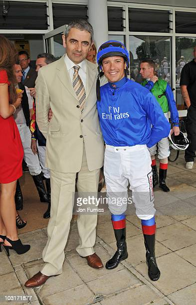 Rowan Atkinson and Frankie Dettori attend day four of the Glorious Goodwood Festival supported by Tanqueray at Goodwood on July 30, 2010 in...