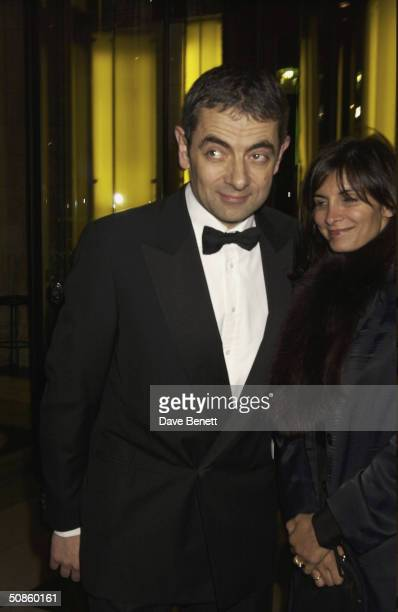 Rowan Atkinson and his wife attend the NSPCC Charity Gala Evening at The Victoria and Albert Museum followed by a party at The Roof Gardens in...