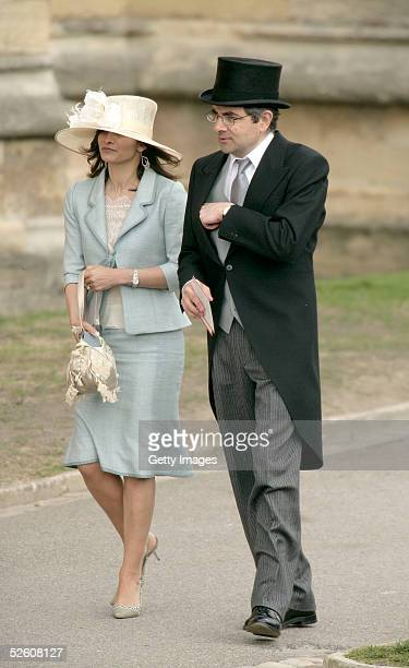 Rowan Atkinson and his wife attend the Service of Prayer of Dedication following the marriage of TRH Prince Charles and The Duchess Of Cornwall...
