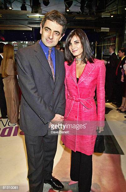 """Rowan Atkinson and his wife attend the UK Premiere of """"Bridget Jones's Diary"""" at the Empire Leicester Square followed by the party at Mezzo on April..."""