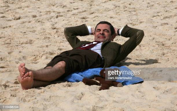 "Rowan Atkinson as ""Mr. Bean"" during Mr. Bean Comes to Town - Photo Call at Bondi Beach in Sydney, NSW, Australia."
