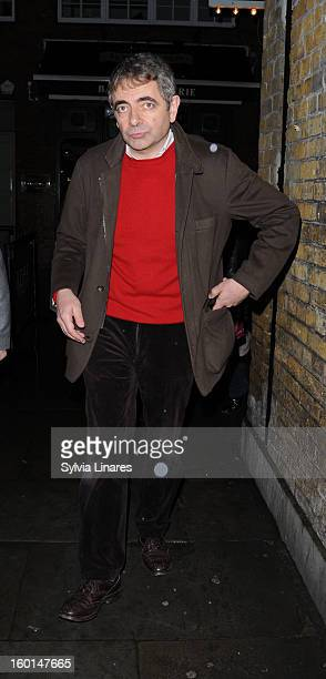 Rowan Atkinson leaving Wyndham Theatre on January 26 2013 in London England