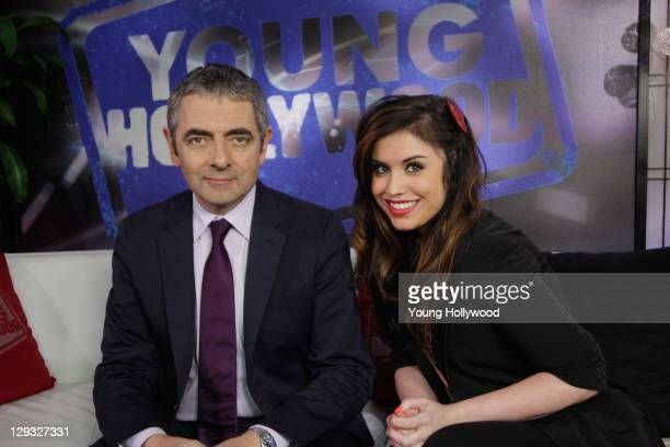 Rowan Atkinson visits with host Kinsey Schofield at the Young Hollywood Studio on October 15 2011 in Los Angeles California