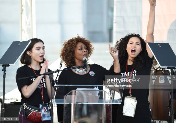 Rowan Blanchard Alfre Woodard and Jurnee SmollettBell speak onstage at 2018 Women's March Los Angeles at Pershing Square on January 20 2018 in Los...