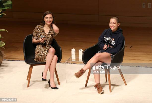 Rowan Blanchard and Emma Gonzalez speak onstage during Teen Vogue Summit 2018 #TurnUp Day 2 at The New School on June 2 2018 in New York City