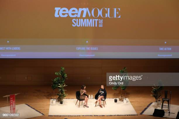 Rowan Blanchard and Emma Gonzalez speak onstage during Teen Vogue Summit 2018: #TurnUp - Day 2 at The New School on June 2, 2018 in New York City.