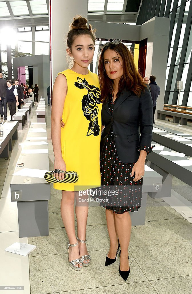 Rowan Blanchard and Salma Hayek attend the Christopher Kane show during London Fashion Week SS16 at Sky Garden on September 21, 2015 in London, England.