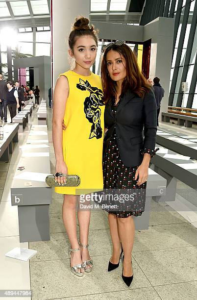 Rowan Blanchard and Salma Hayek attend the Christopher Kane show during London Fashion Week SS16 at Sky Garden on September 21 2015 in London England