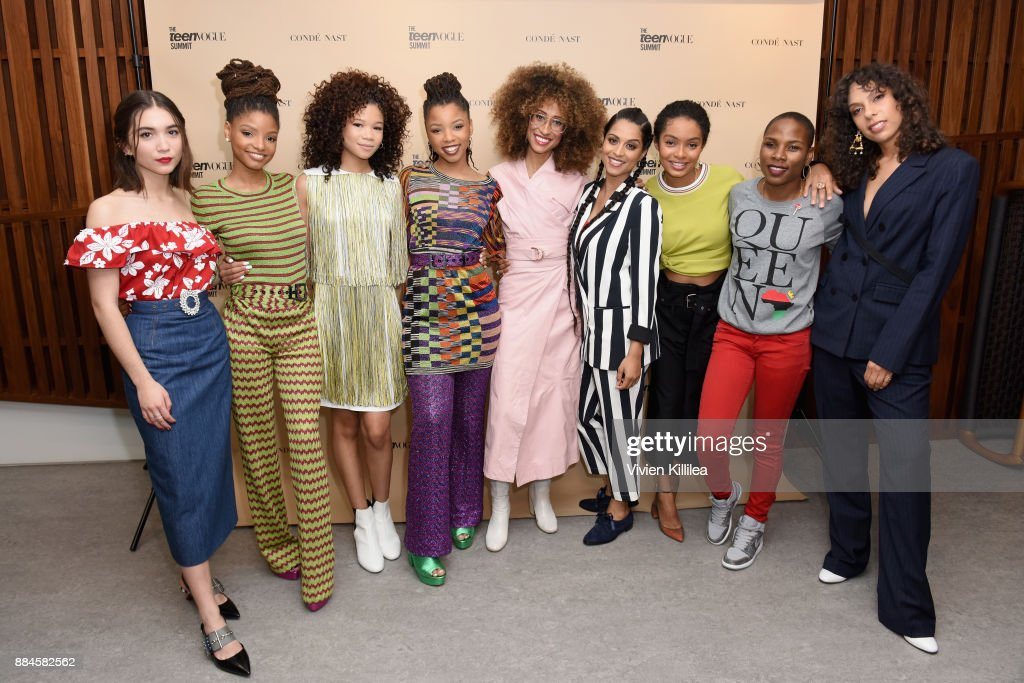 Rowan Blanchard, Halle Bailey, Storm Reid, Chloe Bailey, Elaine Welteroth, Lilly Singh, Yara Shahidi, Luvvie Ajayi, and Melina Matsoukas attend The Teen Vogue Summit