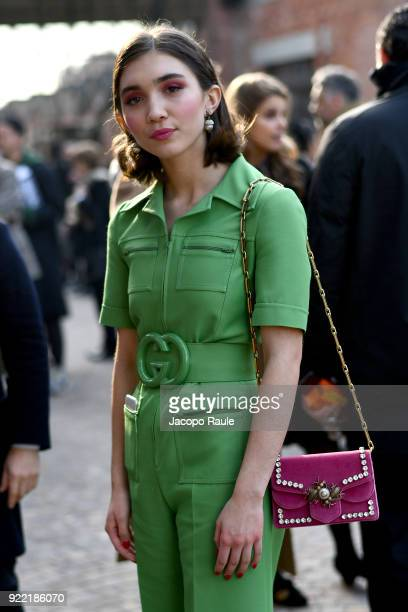Rowan Blanchard is seen leaving the Gucci show during Milan Fashion Week Fall/Winter 2018/19 on February 21 2018 in Milan Italy