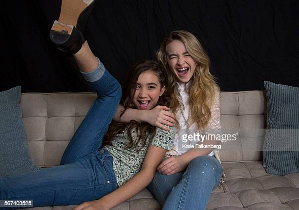 Rowan Blanchard left who plays Riley Cory and Topanga's daughter and Sabrina Carpenter who plays her friend Maya in 'Girl Meets World' a spinoff of...