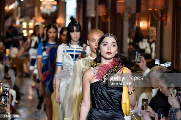 Rowan Blanchard walks the runway during the finale of the Miu Miu 2019 Cruise Collection Show at Hotel Regina on June 30 2018 in Paris France
