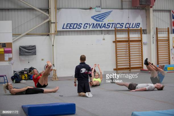 Rowan Cheshire Katie Summerhayes Katie Ormerod Tyler Harding and Anna Vincenti with Gymnastic coach Ross Hill the British Ski and Snowboard team...