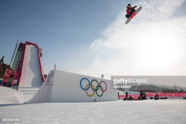 Rowan Coultas Great Britain during the men's snowboard big air qualification at the Pyeongchang 2018 Winter Olympics on February 21st 2018 at the...