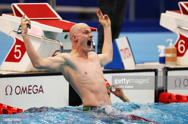 Rowan Crothers of Team Australia reacts following his Men's 50m Freestyle - S10 Final on day 1 of the Tokyo 2020 Paralympic Games at Tokyo Aquatics...