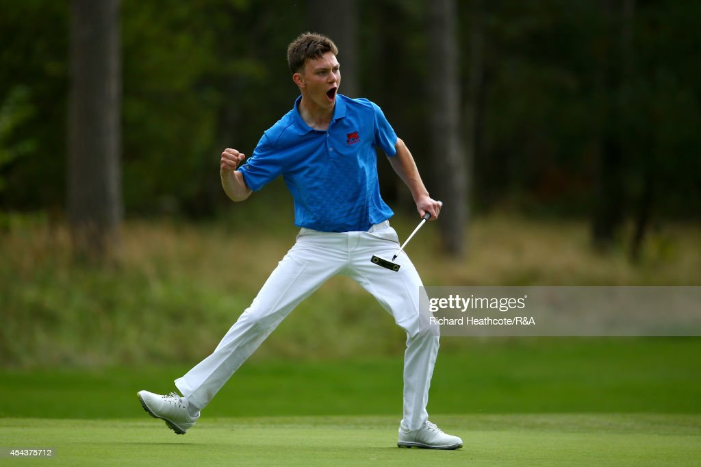 Rowan Lester of GB&I celebrates as he holes the putt that seals victory over Vitek Novak of Europe and secures the trophy for GB&I during the final day of the Jacques Trophy at Barseback Golf & Country Club on August 30, 2014 in Loddekopinge, Sweden.