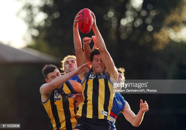 Rowan Marshall of Sandringham takes a mark during the round 12 VFL match between Sandringham and Footscray at Trevor Barker Beach Oval on July 9 2017...
