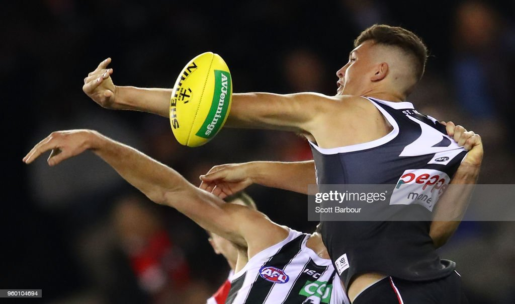 Rowan Marshall of the Saints and Brodie Grundy of the Magpies compete for the ball during the round nine AFL match between the St Kilda Saints and the Collingwood Magpies at Etihad Stadium on May 19, 2018 in Melbourne, Australia.
