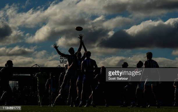 Rowan Marshall of the Saints competes for the ball during the 2019 JLT Community Series AFL match between the Western Bulldogs and the St Kilda...