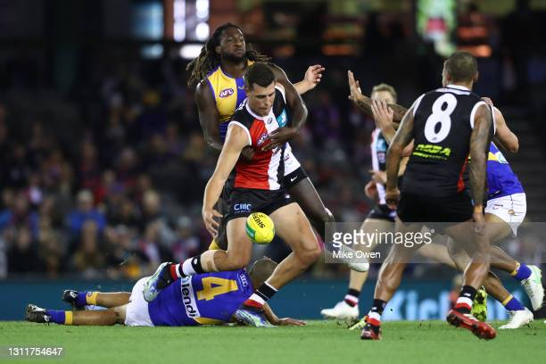 Rowan Marshall of the Saints is tackled by Nic Naitanui of the Eagles during the round four AFL match between the St Kilda Saints and the West Coast...