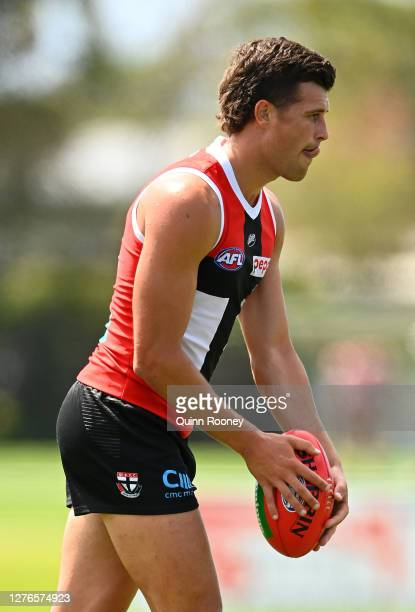 Rowan Marshall of the Saints kicks during a St Kilda Saints AFL training session at Maroochydore Multi Sport Complex on September 25 2020 in Sunshine...