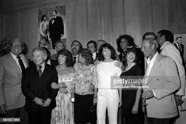 Rowan Martin's LaughIn cast reunion Back row LR Alan Sues George Schlatter Gary Owens Dick Martin Teresa Graves Front Row LR Ed Friendly Henry Gibson...