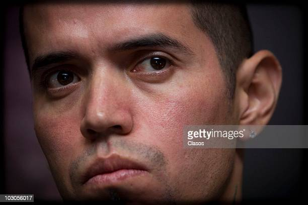 Rowan Rabia of the hip hop group Cartel de Santa participates of a press conference to present their new album Sincopa on July 22 2010 in Mexico City...