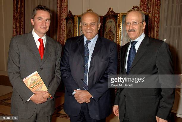 Rowan Somerville and Sir Magdi Yacoub with the Egyptian ambassador Gehad Mardi attend the launch of Somerville's latest book The End of Sleep at the...