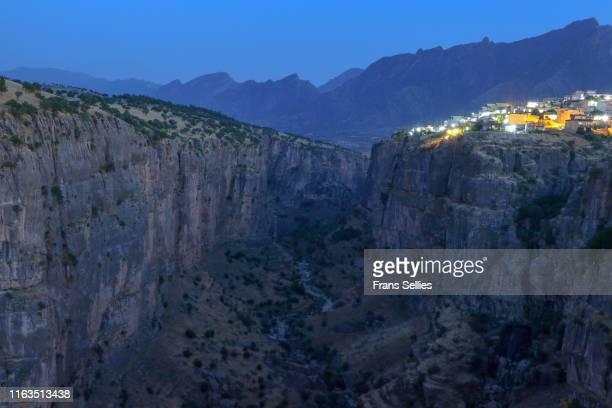 rowanduz at night, iraqi kurdistan - クルディスタン ストックフォトと画像