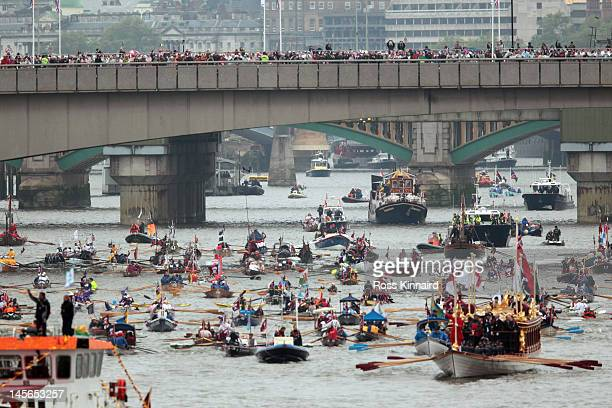 Rowbarge Gloriana leads the flotilla during the Diamond Jubilee Thames River Pageant on June 3 2012 in London England For only the second time in its...