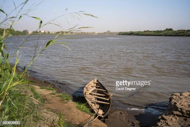 A rowboat at the confluence of the two niles in Al Mogran Family Park on February 10 2017 in Khartoum Sudan The park is at the tip of Khartoum where...