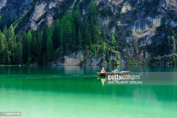 Rowboat on Lake Prags Puster valley TrentinoAlto Adige Italy
