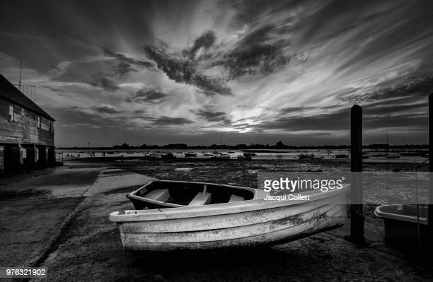 Rowboats in dock, Bosham, West Sussex, England, UK